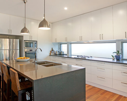 Photo Of A Contemporary U Shaped Kitchen In Central Coast With An  Undermount Sink,