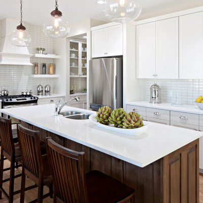 Elegant kitchen photo in Calgary with stainless steel appliances