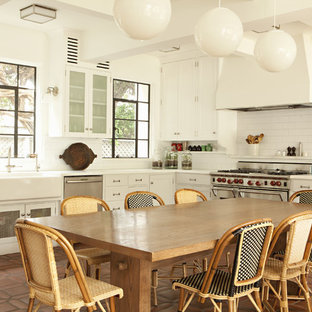 Traditional kitchen ideas - Inspiration for a timeless kitchen remodel in Los Angeles with subway tile backsplash
