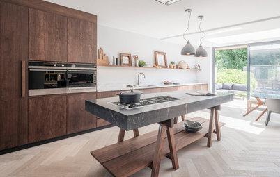 Rich Walnut Enhances a Contemporary Kitchen