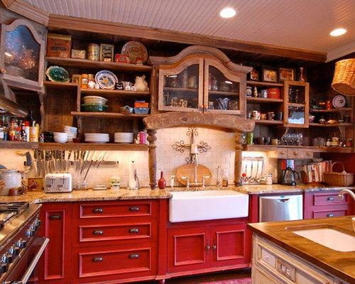 cuisine campagne avec une cr dence en travertin photos et id es d co de cuisines. Black Bedroom Furniture Sets. Home Design Ideas