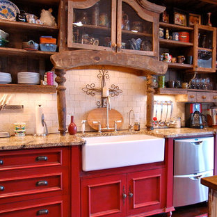 75 Most Popular Farmhouse Kitchen With Red Cabinets Design Ideas For