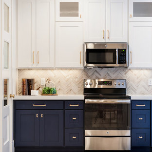 75 Beautiful Kitchen With Blue Cabinets And Beige Backsplash Pictures Ideas April 2021 Houzz