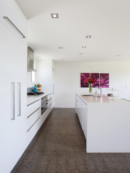 White Kitchen white kitchen Example Of A Minimalist Galley Kitchen Design In Other With Flat Panel Cabinets White
