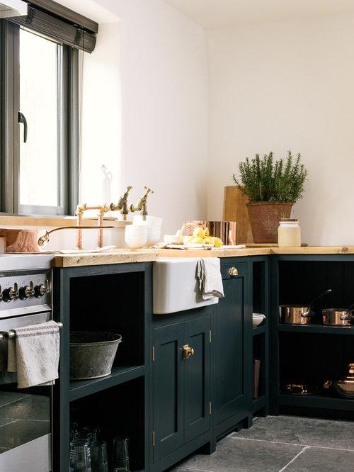 700 Farmhouse Kitchen With Blue Cabinets Design Ideas