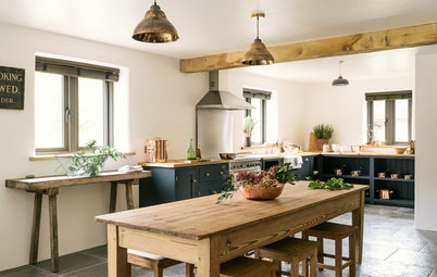 Kitchen Tour: Dark Blue and Copper Create a Modern Farmhouse Look