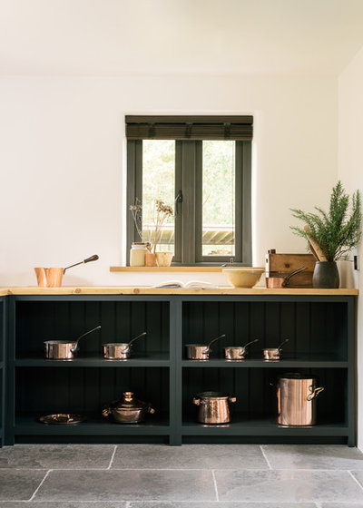 Kitchen Tour Dark Blue And Copper Create A Modern Farmhouse Look