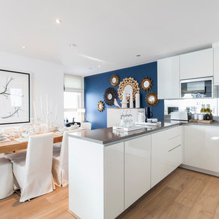 Kitchen - contemporary kitchen idea in London with flat-panel cabinets