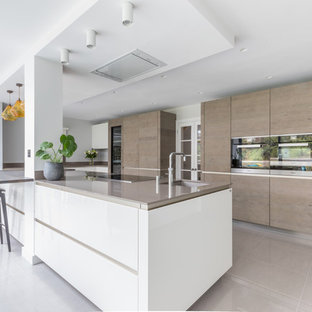 Large contemporary galley open plan kitchen in Sussex with flat-panel cabinets and an island.