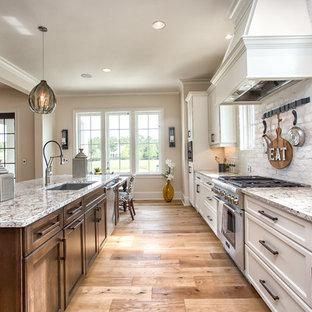 Diseño de cocina de galera, clásica, abierta, con fregadero bajoencimera, armarios con paneles empotrados, puertas de armario blancas, electrodomésticos de acero inoxidable, una isla y suelo de madera en tonos medios