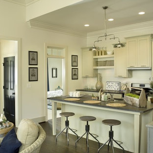 Traditional galley open plan kitchen in Other with recessed-panel cabinets, beige cabinets, concrete benchtops, white splashback, dark hardwood floors and with island.