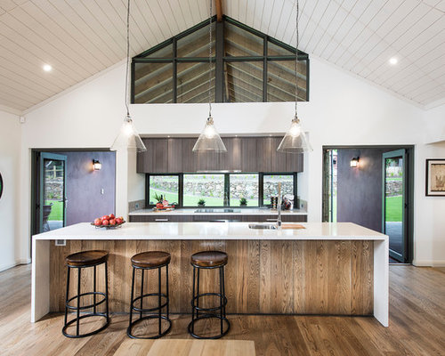 design ideas for a mid sized contemporary galley eat in kitchen in perth with - Glass Sheet Kitchen Design