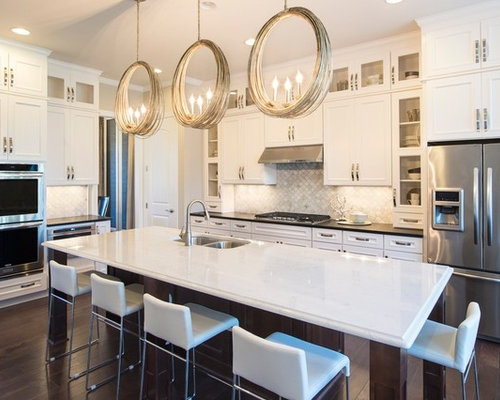 Example Of A Transitional Dark Wood Floor Kitchen Design In Raleigh With A  Double Bowl