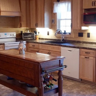 Large country u-shaped eat-in kitchen in Other with a drop-in sink, louvered cabinets, light wood cabinets, glass benchtops, brown splashback, timber splashback, white appliances, porcelain floors, with island and brown floor.