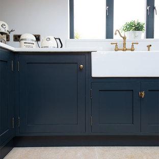 The Navy Kitchen: Dijon Tumbled Limestone Tiles