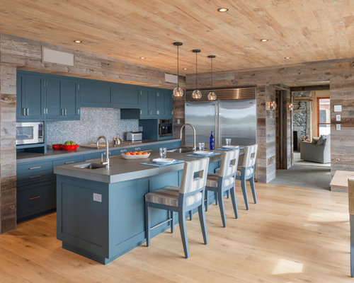Example Of A Mountain Style Galley Light Wood Floor Eat In Kitchen Design Boston