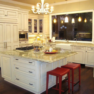 The Nolan Kitchen - Brookhaven's Springfield Door-off white,Thermador appliances