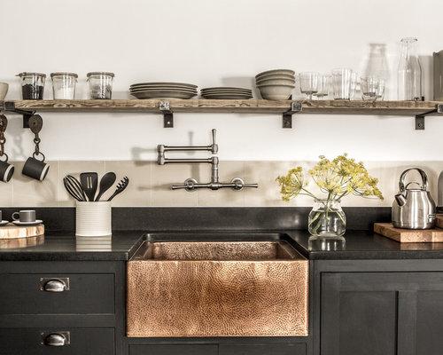 k chen mit k chenr ckwand aus zementfliesen ideen bilder houzz. Black Bedroom Furniture Sets. Home Design Ideas