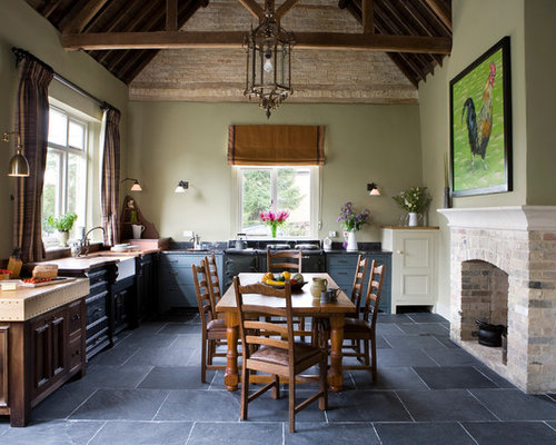 Large Country L Shaped Slate Floor Eat In Kitchen Photo In Other With A