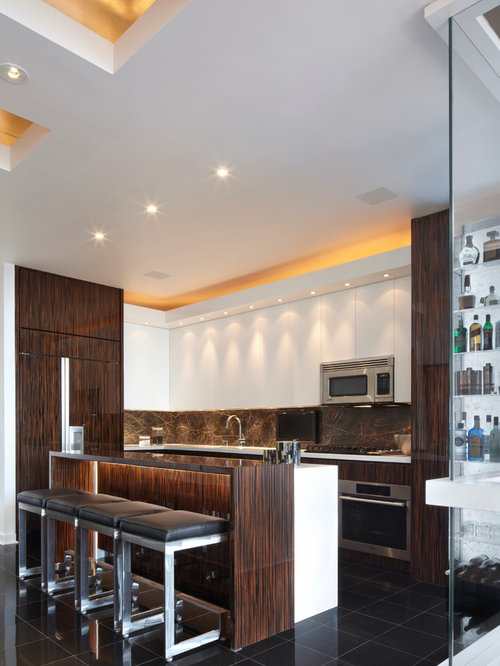Example Of A Mid Sized Trendy L Shaped Open Concept Kitchen Design In New Part 26