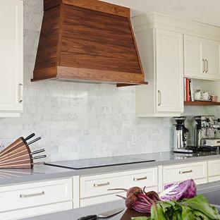 トロントの中サイズのエクレクティックスタイルのおしゃれなキッチン (アンダーカウンターシンク、シェーカースタイル扉のキャビネット、白いキャビネット、クオーツストーンカウンター、白いキッチンパネル、大理石の床、シルバーの調理設備の、無垢フローリング、グレーのキッチンカウンター) の写真