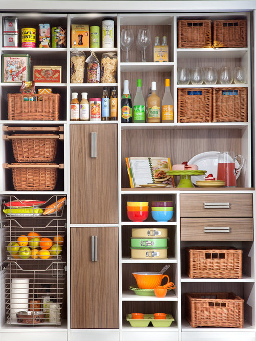 Kitchen Pantry   Large Contemporary Single Wall Kitchen Pantry Idea In New  York With Medium