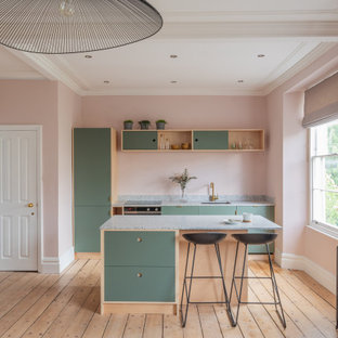 Scandinavian galley kitchen in Other with an undermount sink, flat-panel cabinets, green cabinets, stainless steel appliances, light hardwood floors, beige floor and grey benchtop.