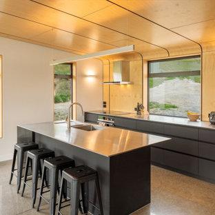 Mittelgroße Moderne Wohnküche in L-Form mit Doppelwaschbecken, flächenbündigen Schrankfronten, schwarzen Schränken, Edelstahl-Arbeitsplatte, bunter Rückwand, Rückwand aus Holz, Küchengeräten aus Edelstahl, Betonboden, Kücheninsel, grauem Boden und grauer Arbeitsplatte in Christchurch