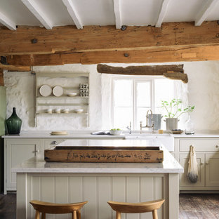 Farmhouse kitchen designs - Inspiration for a farmhouse l-shaped dark wood floor kitchen remodel in Other with a farmhouse sink, shaker cabinets, beige cabinets and an island