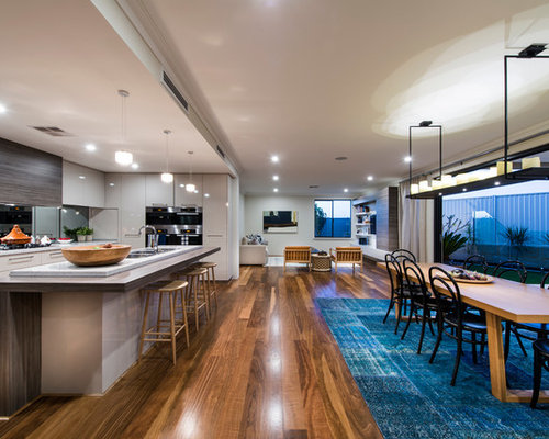 Example Of A Trendy Open Concept Kitchen Design In Perth With Flat Panel  Cabinets,