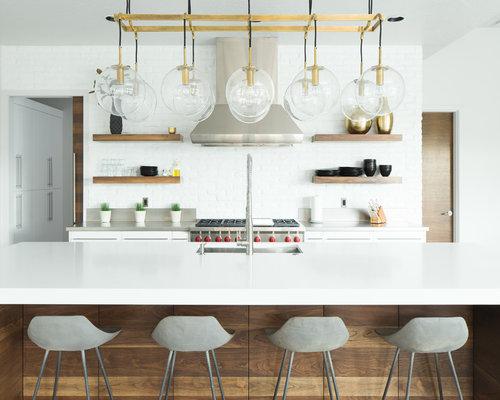moderne k che mit r ckwand aus backstein ideen bilder. Black Bedroom Furniture Sets. Home Design Ideas