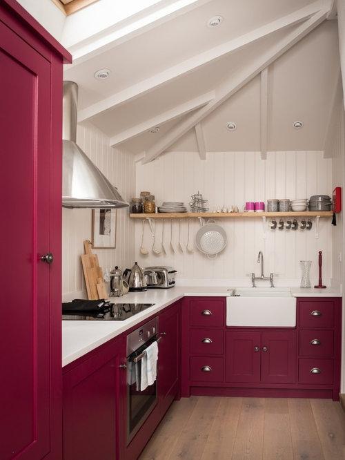 Small Farmhouse Enclosed Kitchen Inspiration   Small Farmhouse L Shaped  Enclosed Kitchen Idea In Cornwall