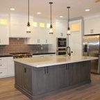 Shaker white kitchen fluted grey island - Beach Style - Kitchen - Los Angeles - by Dream Woodwork