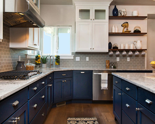 Nautical Eat In Kitchen Design Ideas Renovations Photos With Flat Panel Cabinets