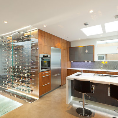 Example of a trendy kitchen design in Vancouver with flat-panel cabinets, gray backsplash and stainless steel appliances