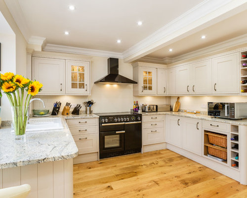 Farmhouse Kitchen Appliance   Example Of A Country U Shaped Medium Tone  Wood Floor And