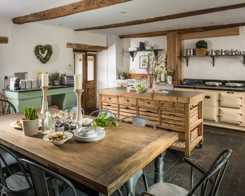 This Is An Example Of A Medium Sized Country Single Wall Kitchen/diner In