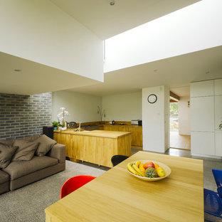 ダブリンのモダンスタイルのおしゃれなキッチン (フラットパネル扉のキャビネット、中間色木目調キャビネット、木材カウンター) の写真