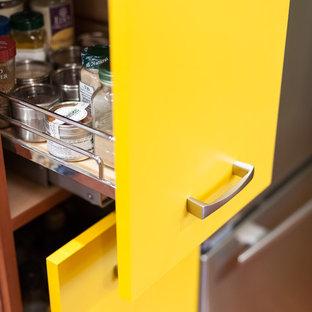 ポートランドの小さいエクレクティックスタイルのおしゃれなキッチン (アンダーカウンターシンク、フラットパネル扉のキャビネット、黄色いキャビネット、御影石カウンター、マルチカラーのキッチンパネル、セラミックタイルのキッチンパネル、シルバーの調理設備の、無垢フローリング、アイランドなし) の写真