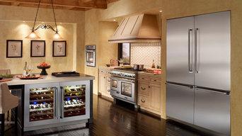 Thermador Stainless Steel Luxury Appliances in Mediterranean Kitchen