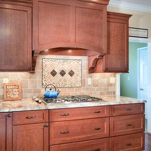 フィラデルフィアの大きいトランジショナルスタイルのおしゃれなキッチン (アンダーカウンターシンク、落し込みパネル扉のキャビネット、中間色木目調キャビネット、御影石カウンター、マルチカラーのキッチンパネル、サブウェイタイルのキッチンパネル、シルバーの調理設備の、無垢フローリング) の写真