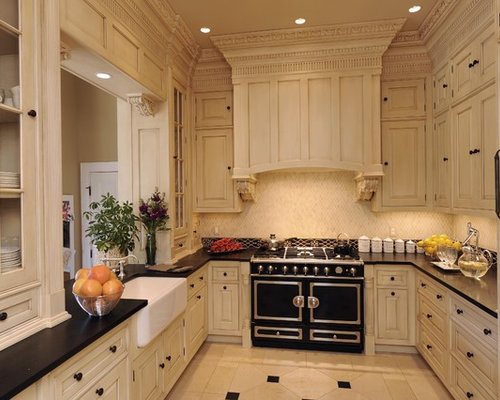 Traditional U Shaped Enclosed Kitchen Idea In New Orleans With Beaded Inset  Cabinets, A
