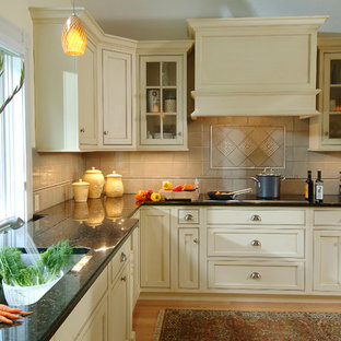 Black Granite With Cream Cabinets Houzz