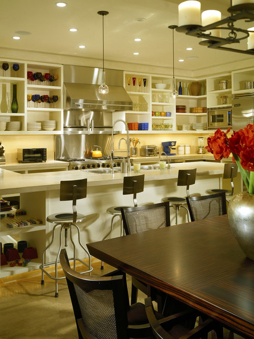 Modern Eat In Kitchen Idea In Denver With Open Cabinets, White Cabinets,  Stainless Part 96