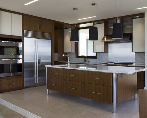 Contemporary L Shaped Kitchen Idea In San Francisco With Stainless Steel  Appliances, Flat