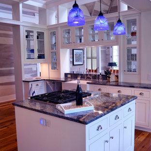 Ejemplo de cocina de galera, tradicional renovada, grande, abierta, con fregadero sobremueble, armarios con paneles empotrados, puertas de armario blancas, encimera de granito, electrodomésticos de acero inoxidable, suelo de madera en tonos medios, una isla y encimeras azules