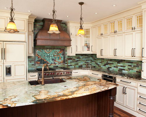 Kitchen design ideas renovations amp photos with green splashback and