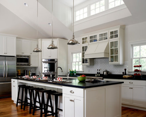 Good Example Of A Country Kitchen Design In Other With Shaker Cabinets, White  Cabinets, White
