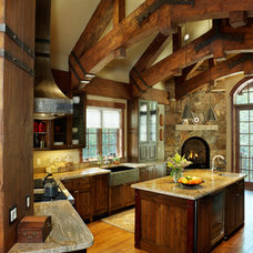 Rustic Kitchen by Sitka Log Homes