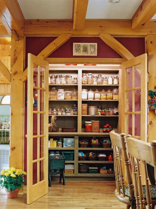 Small Rustic Kitchen Pantry Photos   Example Of A Small Mountain Style  L Shaped Medium